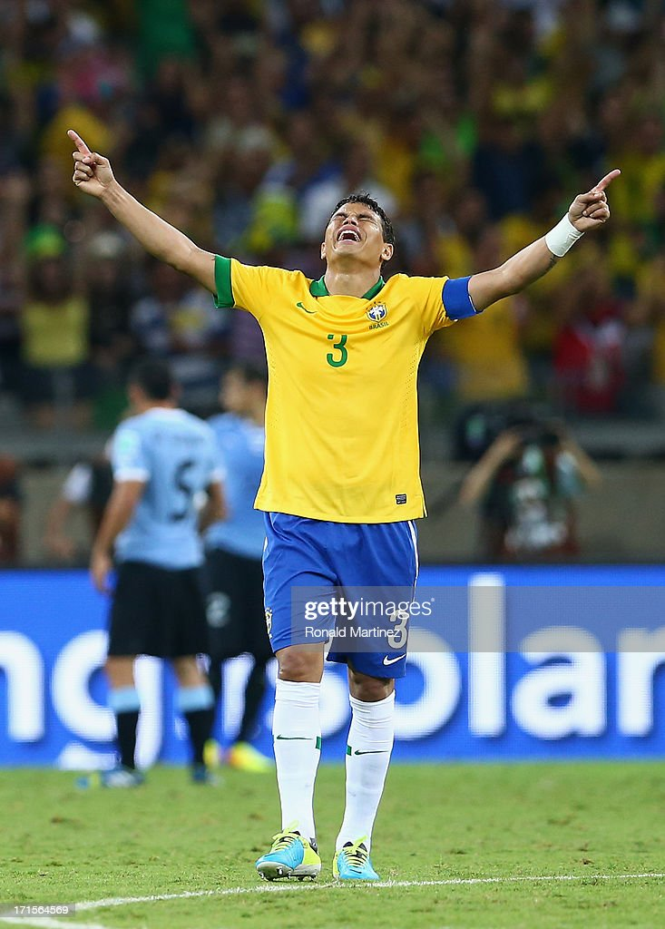 Thiago Silva of Brazil reacts at the end of the FIFA Confederations Cup Brazil 2013 Semi Final match between Brazil and Uruguay at Governador Magalhaes Pinto Estadio Mineirao on June 26, 2013 in Belo Horizonte, Brazil.