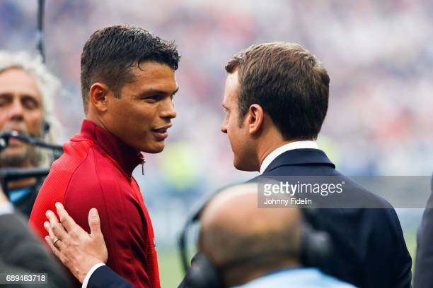 Thiago Silva of Paris Saint Germain and Emmanuel Macron french president before the National Cup Final match between Angers SCO and Paris Saint...