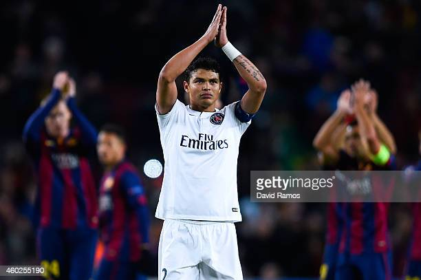 Thiago Silva of Paris SaintGermain FC acknowledges his supporters at the end of the UEFA Champions League group F match between FC Barcelona and...