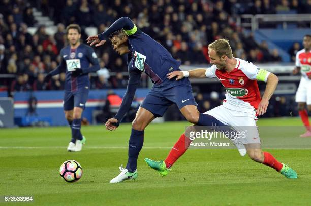 Thiago Silva of Paris SaintGermain fights for the ball during the French Cup SemiFinal match between Paris SaintGermain and As Monaco at Parc des...