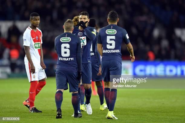 Thiago Silva of Paris SaintGermain reacts after Marquinhos score during the French Cup SemiFinal match between Paris SaintGermain and As Monaco at...