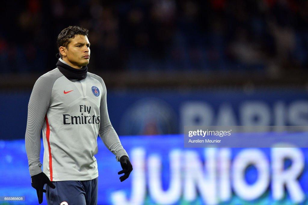 Thiago Silva of Paris Saint-Germain reacts during warmup before the French Ligue 1 match between Paris Saint Germain and Lyon at Parc des Princes on March 19, 2017 in Paris, France.