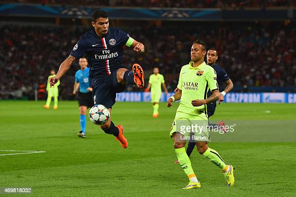 Thiago Silva of PSG and Neymar of Barcelona battle for the ball during the UEFA Champions League Quarter Final First Leg match between Paris...