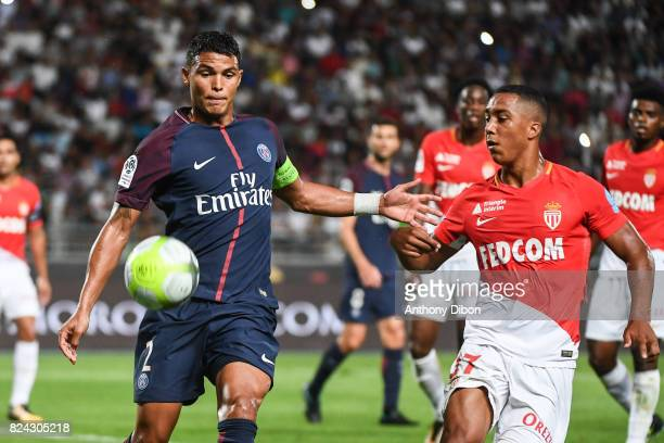 Thiago Silva of PSG and Youri Tielemans of Monaco during the Champions Trophy match between Monaco and Paris Saint Germain at Stade IbnBatouta on...