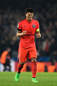 Thiago Silva of PSG celebrates following his team's victory during the UEFA Champions League Round of 16 second leg match between Chelsea and Paris...