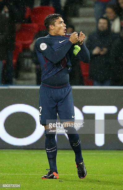 Thiago Silva of PSG celebrates his goal during the French Ligue 1 match between Paris SaintGermain and FC Lorient at Parc des Princes stadium on...