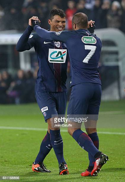 Thiago Silva of PSG celebrates his goal with Lucas Moura during the French Cup match between Paris SaintGermain and SC Bastia at Parc des Princes on...