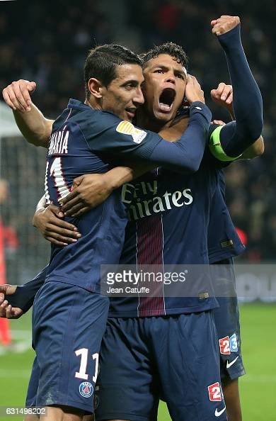 Thiago Silva of PSG celebrates his second goal with Angel Di Maria during the French League Cup match between Paris SaintGermain and FC Metz at Parc...