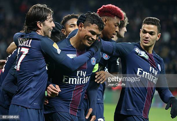 Thiago Silva of PSG celebrates his second goal with Maxwell Scherrer Presnel Kimpembe Hatem Ben Arfa and teammates during the French League Cup match...