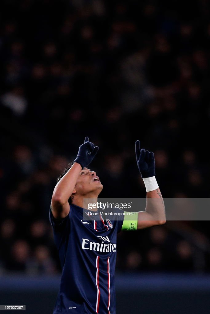 Thiago Silva of PSG celebrates scoring the first goal of the game during the Group A UEFA Champions League match between Paris Saint-Germain FC and FC Porto at Parc des Princes on December 4, 2012 in Paris, France.