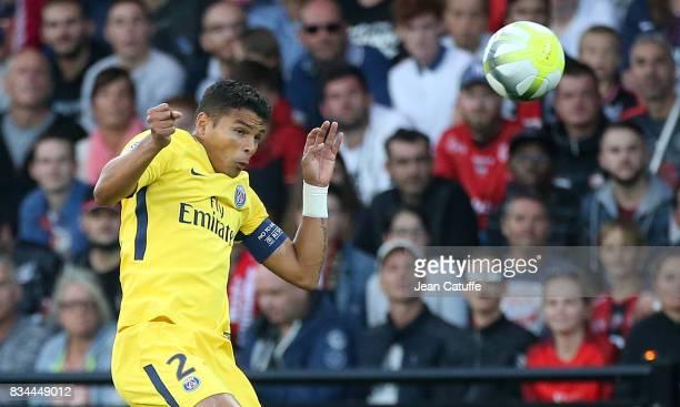 Thiago Silva of PSG during the French Ligue 1 match between En Avant Guingamp and Paris Saint Germain at Stade de Roudourou on August 13 2017 in...