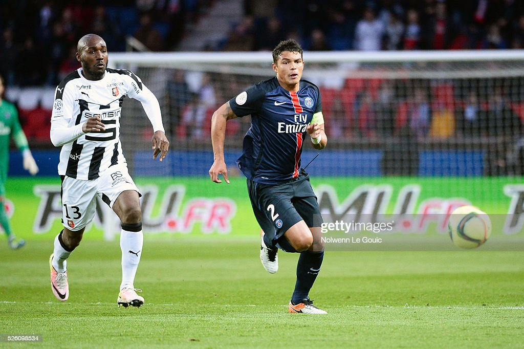 Thiago SILVA of PSG during the French Ligue 1 match between Paris Saint Germain PSG and Stade Rennais at Parc des Princes on April 29, 2016 in Paris, France.