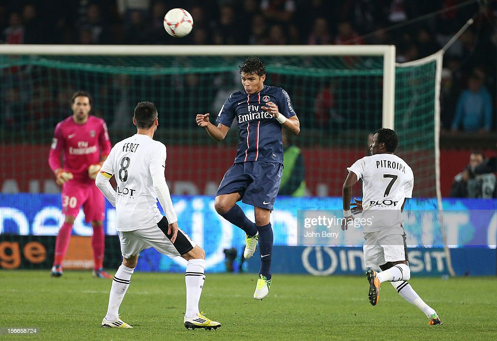 Thiago Silva of PSG in action during the french Ligue 1 match between Paris Saint Germain FC and Stade Rennais FC at the Parc des Princes stadium on November 17, 2012 in Paris, France.