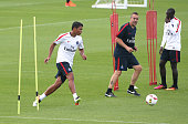 Thiago Silva of PSG warms up during the first training session of the season for Paris SaintGermain at PSG training camp Centre d'Entrainement...