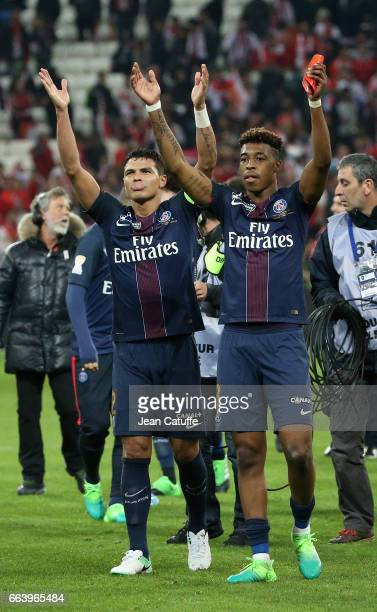 Thiago Silva Presnel Kimpembe of PSG celebrate the victory following the French League Cup final between Paris SaintGermain and AS Monaco at Parc OL...