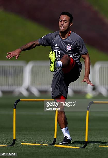 Thiago warms up during a training session at day 5 of the Bayern Muenchen training camp at Aspire Academy on January 7 2017 in Doha Qatar