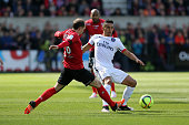 Thibault GIRESSE of Guingamp and Marquinhos of Paris SaintGermain during the French League 1 match between EA Guingamp and Paris SaintGermain on...