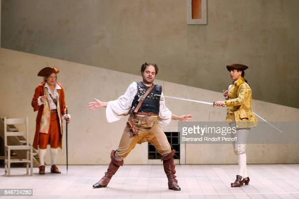 Thibault Lacroix Adrien GambaGontard and Maxime d'Aboville perform in 'Les Jumeaux Venitiens' Press Theater Play at Theatre Hebertot on September 6...