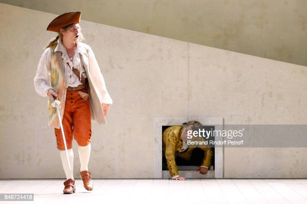 Thibault Lacroix and Maxime d'Aboville perform in 'Les Jumeaux Venitiens' Press Theater Play at Theatre Hebertot on September 6 2017 in Paris France