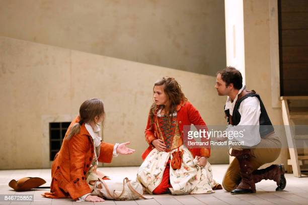 Thibault Lacroix Margaux Van Den Plas and Adrien GambaGontard perform in 'Les Jumeaux Venitiens' Press Theater Play at Theatre Hebertot on September...