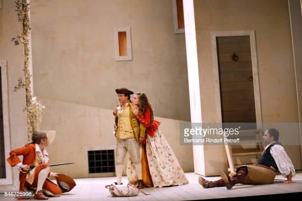 Thibault Lacroix Maxime d'Aboville Margaux Van Den Plas and Adrien GambaGontard perform in 'Les Jumeaux Venitiens' Press Theater Play at Theatre...