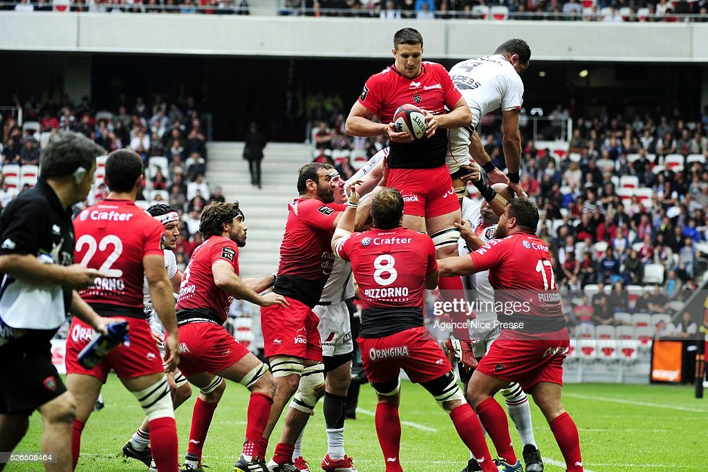 Thibault LASSALLE during the French Top 14 rugby union match between RC Toulon and Stade Toulousain ( Toulouse ) at Allianz Riviera on April 30, 2016 in Nice, France.