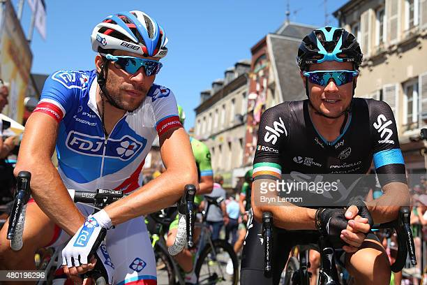 Thibault Pinot of France and FDJ and Nicolas Roche of Ireland and Team Sky chat prior to the start of stage seven of the 2015 Tour de France a 1905km...