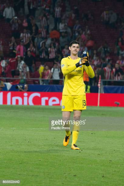 METROPOLITANO MADRID SPAIN Thibaut Courtois after the match Victory in the last seconds of the game for Chelsea by 1 to 2 Griezmann Morata and...