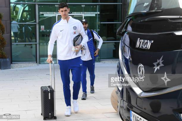 Thibaut Courtois and Davide Zappacosta of Chelsea prepares to travel to Bournemouth at Chelsea Training Ground on October 27 2017 in Cobham England