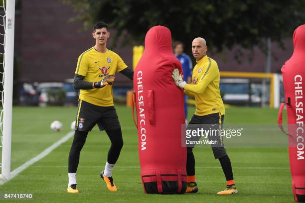 Thibaut Courtois and Willy Caballero of Chelsea during a training session at Chelsea Training Ground on September 15 2017 in Cobham England