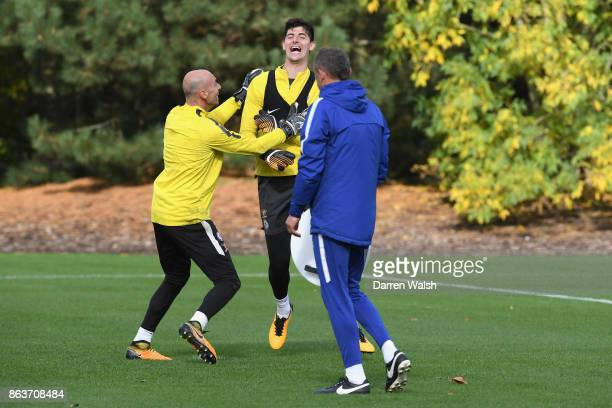 Thibaut Courtois and Willy Caballero of Chelsea during a training session at Chelsea Training Ground on October 20 2017 in Cobham United Kingdom