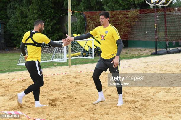 Thibaut Courtois Eduardo of Chelsea playing volleyball during a training session at Chelsea Training Ground on July 14 2017 in Cobham England