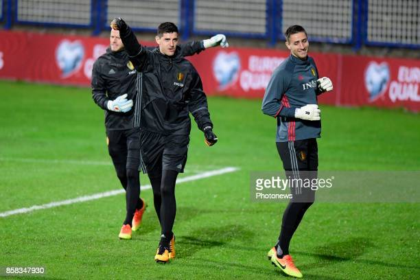 Thibaut Courtois goalkeeper of Belgium and Koen Casteels goalkeeper of Belgium in action during a training session of the National Soccer Team of...