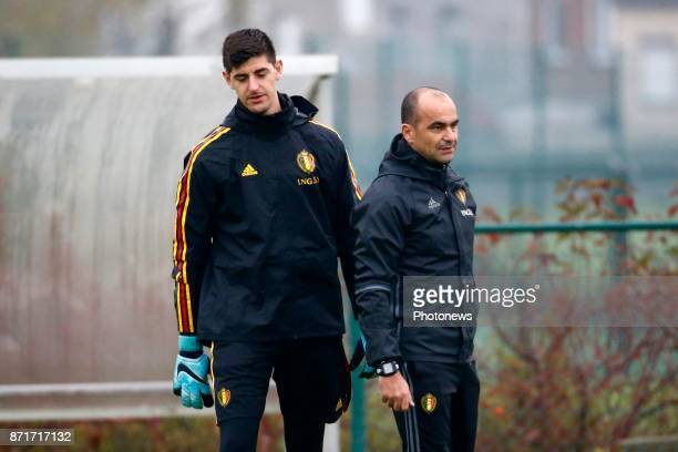 Thibaut Courtois goalkeeper of Belgium and Roberto Martinez head coach of Belgian Team during the press conference and training session of the Red...