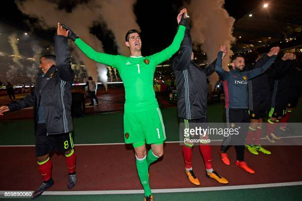 Thibaut Courtois goalkeeper of Belgium celebrating the qualification for the World Cup in Russia towards the supporters after the World Cup Qualifier...