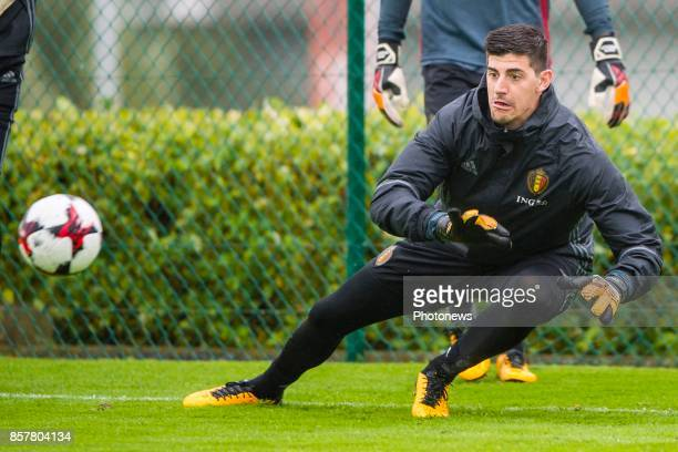 Thibaut Courtois goalkeeper of Belgium during a training session of the National Soccer Team of Belgium prior to the World Cup 2018 qualification...