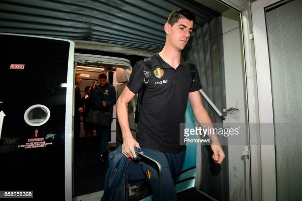 Thibaut Courtois goalkeeper of Belgium pictured during the arrival of the National Soccer Team of Belgium prior to the 2018 World Cup qualifier...