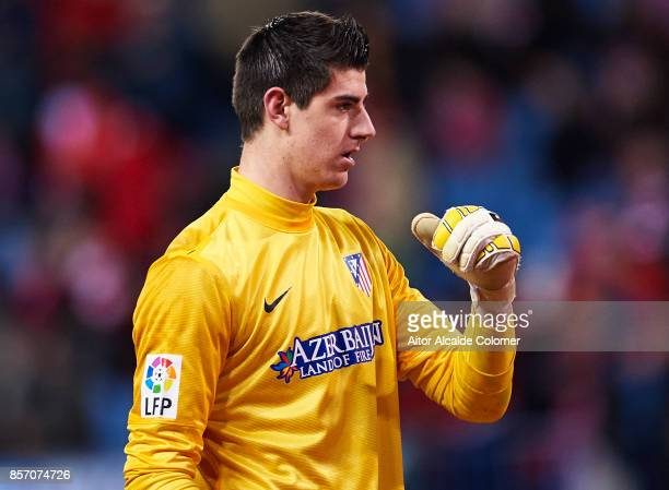 Thibaut Courtois of Atletico de Madrid looks on during the La Liga between Atletico de Madrid v RCD Espanyol at Estadio Vicente Calderon on February...