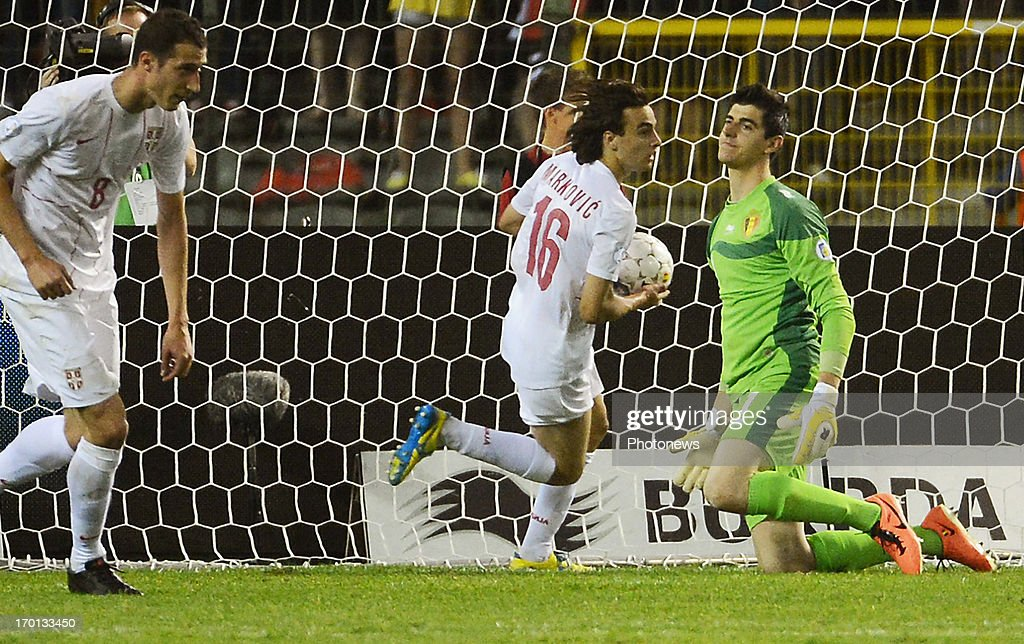 Thibaut Courtois of Belgium concedes a goal during the FIFA 2014 World Cup Group A qualifying match between Belgium and Serbia at the King Baudouin stadium on June 06, 2013 in Brussels, Belgium.