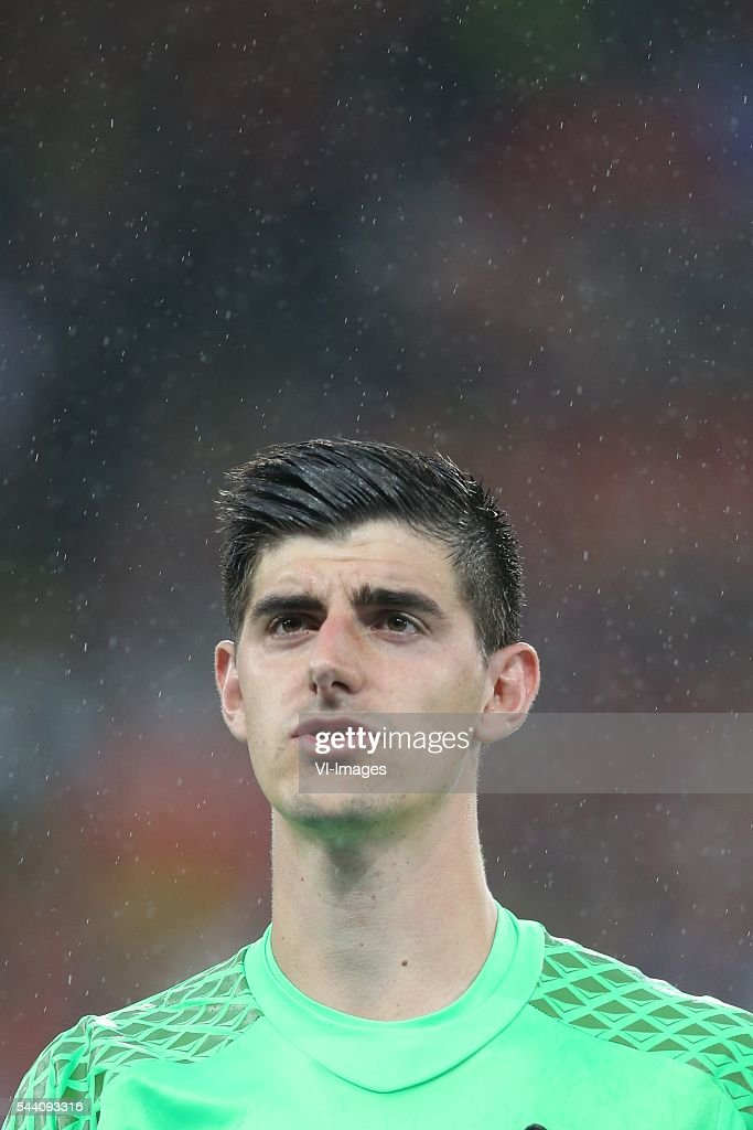 Thibaut Courtois of Belgium during the UEFA EURO 2016 quarter final match between Wales and Belgium on July 2, 2016 at the Stade Pierre Mauroy in Lille, France.