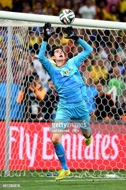 Thibaut Courtois of Belgium in action during the 2014 FIFA World Cup Brazil Group H match between Korea Republic and Belgium at Arena de Sao Paulo on...