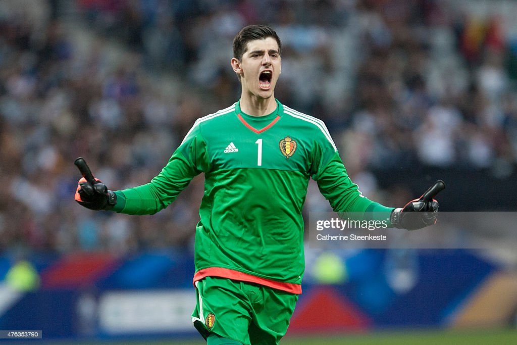 Thibaut Courtois #1 of Belgium reacts after his team scored during the international friendly game between France and Belgium at Stade de France on June 7, 2015 in Saint Denis near Paris, France.