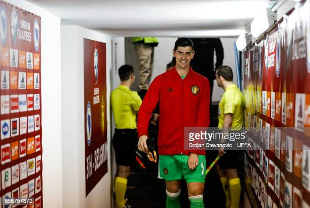 Thibaut Courtois of Belgium smiles prior the FIFA 2018 World Cup Qualifier between Bosnia and Herzegovina and Belgium at stadium Grbavica on October...