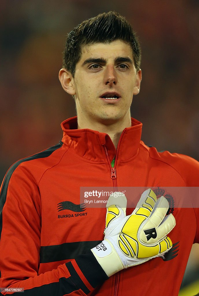 Thibaut Courtois of Belgium stands for the national anthems prior to the FIFA 2014 World Cup Qualifier between Belgium and Macedonia at Stade Roi Baudouis on March 26, 2013 in Brussels, Belgium.