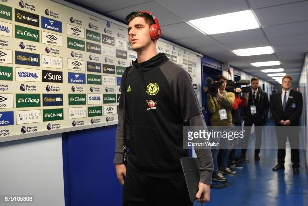 Thibaut Courtois of Chelsea arrives at the stadium prior to the Premier League match between Everton and Chelsea at Goodison Park on April 30 2017 in...