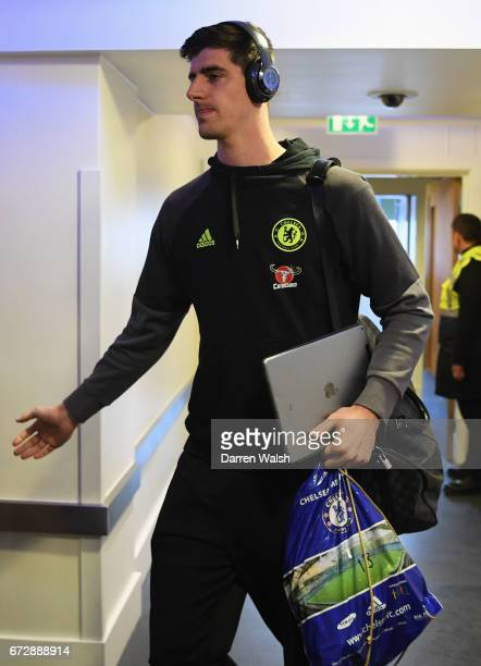 Thibaut Courtois of Chelsea arrives prior to the Premier League match between Chelsea and Southampton at Stamford Bridge on April 25 2017 in London...