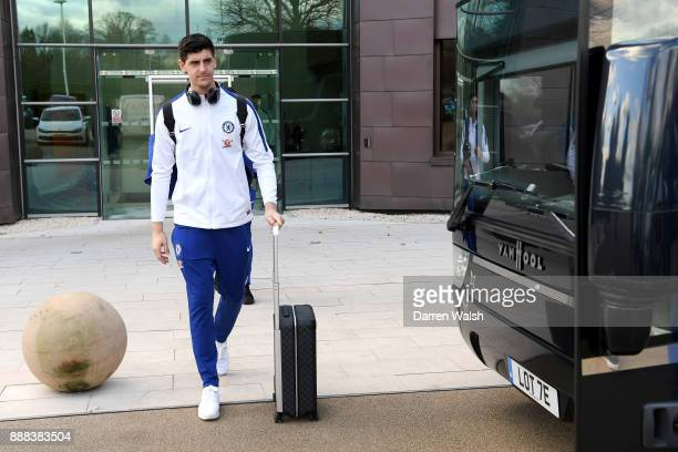 Thibaut Courtois of Chelsea boards the team coach at Chelsea Training Ground on December 8 2017 in Cobham England