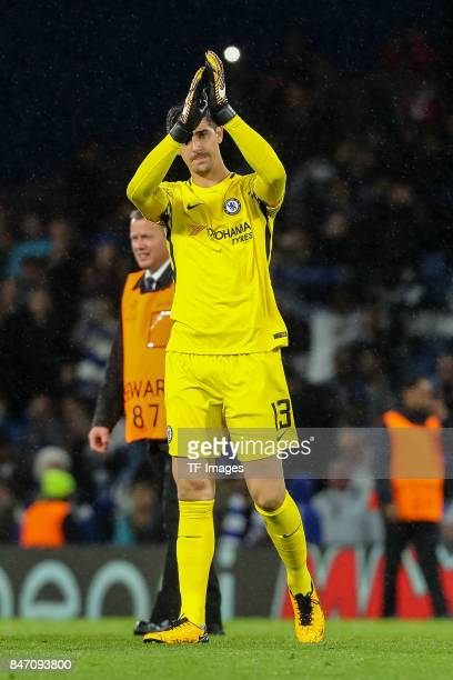 Thibaut Courtois of Chelsea celebrate their win during the UEFA Champions League group C match between Chelsea FC and Qarabag FK at Stamford Bridge...
