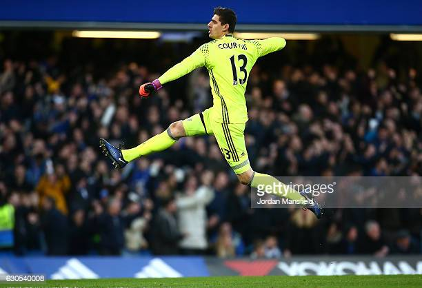 Thibaut Courtois of Chelsea celebrates after Chelsea score their first goal during the Premier League match between Chelsea and AFC Bournemouth at...