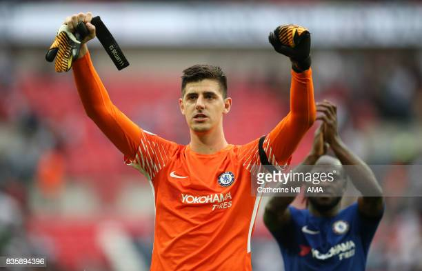 Thibaut Courtois of Chelsea celebrates after the Premier League match between Tottenham Hotspur and Chelsea at Wembley Stadium on August 20 2017 in...